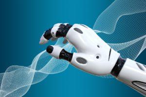 A képen egy robot kar és egy háló látható, illusztráció a mesterséges intelligencia témakörhöz.