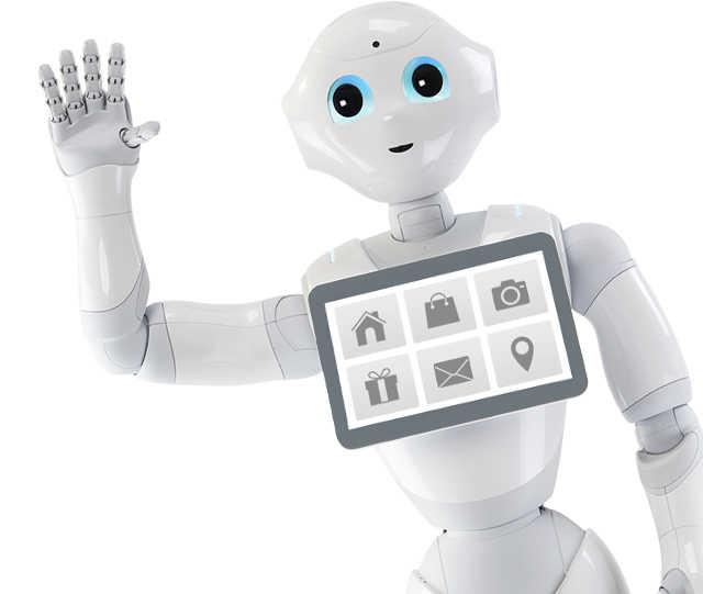 Pepper, a mesterséges intelligencia segítségével működő robot integet.